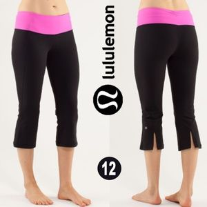 Lululemon Gather & Crow Crop Black / Pow Pink